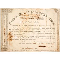 Providence, Warren & Bristol Railroad Bond  #84918