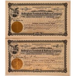 Bellingham Terminals & Railway Co. Stock Certificate Pair  #107625