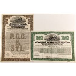 Piitsburgh, Cincinnati, Chicago and St. Louis Railroad Bonds (2)  #84275