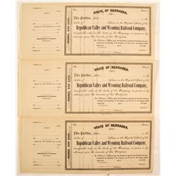 Republican Valley and Wyoming Railroad Company Stock Certificates  #81050