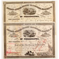 Second & Third Street Passenger Railway Company Stock Certificates  #80504