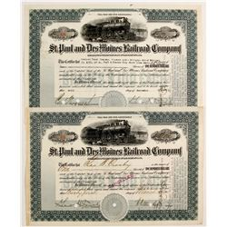 St. Paul and Des Moines Railroad Company Stock Certificates  #80500