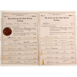 The Potosi and Rio Verde Railway Company Stock Certificates  #80532