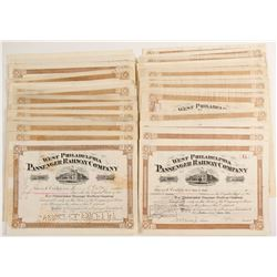 West Phildelphia Passenger Railway Company Stock Certificates  #80508