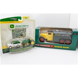 1930 John Deere Diamond T tanker bank 1:40 and John Deere 1969 Chevy Blazer w/ 4320 tractor