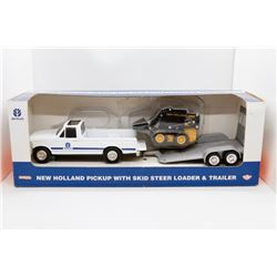 New Holland pickup w/ skid steer loader & trailer 1:32