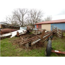 16 FT UTILITY TRAILER --T/A, COMES WITH MISC. METAL TUBING, ANGLE IRON, GRAIN DRILL, METAL FENCING (