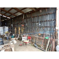 MISC. BELTS, CHAINS, EXTENSION CORDS, VISE, PARTS