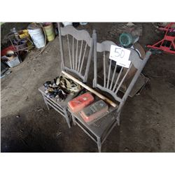 MISC. RATCHET STRAPS, ANTIQUE CHAIRS, TROUGH VALVES, WOODEN HANDLE