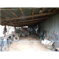MISC. TIRES, TARPS, CRAFTSMAN LAWN MOWER, HYD CYLINDERS, ROPE