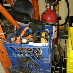 CRATE OF TOOLS, EXTINGUISHERS AND CHICKEN WIRE