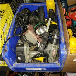 BLUE BIN OF POWER TOOLS AND HOT GLUE GUN