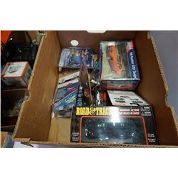 BOX OF DIECAST CARS, MODEL KITS, ETC