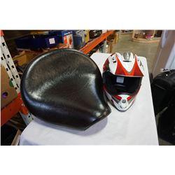 DIRT BIKE HELMET AND MOTORCYCLE SEAT