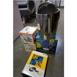 FILTER, JUICER, DVDS, AND LEATHER SUITCASE, PASTA MACHINE