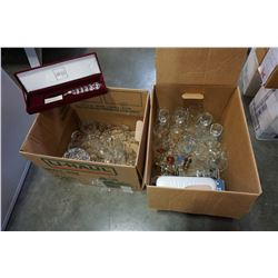 LOT OF CRYSTAL GLASSES, GLASSWARE, AND FROTHERS
