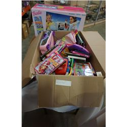 LOT OF KIDS TOYS, DVDS, BARBIE, AND AIRPLANE