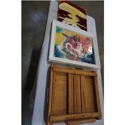 ART EASEL AND 2 PAINTINGS