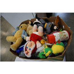 BOX OF VINTAGE STUFFED ANIMALS AND SOME TOYS