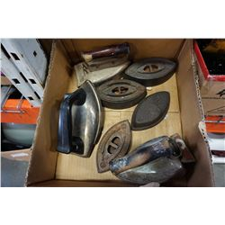 BOX OF VINTAGE IRONS