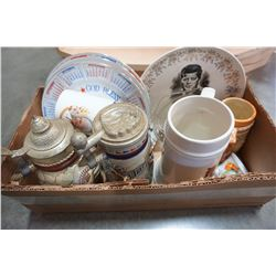 BOX OF VINTAGE BEER STEINS AND COLLECTOR PLATES INCLUDING JFK