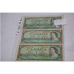 THREE 1954 ONE DOLLAR BILLS