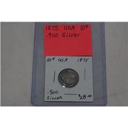 1875 USA DIME .900 SILVER