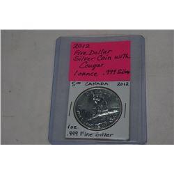 2012 $5 SILVER COIN WITH COUGAR .999 FINE SILVER 1OZ