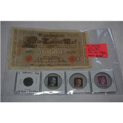 1910 GERMAN 1000 MARK BANKNOTE, 1942 ZINC REICHSPFENNIG AND 3 STAMPS 90-10-6 HITLER