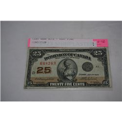 1923 CANADIAN SHINPLASTER 25 CENT BANK NOTE - VERY FINE CONDITION