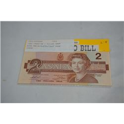 1986 CANADIAN 2 DOLLAR BANK NOTE UNCIRCULATED/LAST YEAR ISSUE
