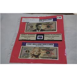 MILLION DOLLAR BANK NOTES - JOHN F KENNEDY AND MARILYN MONROE