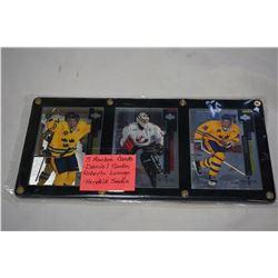 3 NHL ROOKIE CARDS, DANIEL SEDIN, ROBERTO LUONGO AND HENDRIK SEDIN IN DISPLAY FRAME