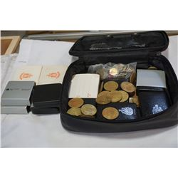 LOT OF ASSORTED COINS AND TOKENS IN CASE
