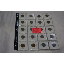 20 CANADIAN 5c COINS 1922-1945 KING GEORGE V AND VI INCLUDING 2 TOMBACS 1942/3