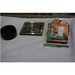 BUNDLE OF VINTAGE POSTCARDS AND STAMPS AND NATIVE BOWL ETC