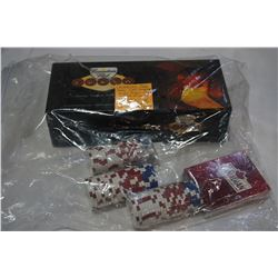 CANADIAN CLUB POKER FINAL TABLE POKER SET WITH UNOPENED PLAYING CARDS, PLUS 100 POKER CHIPS AND CANA