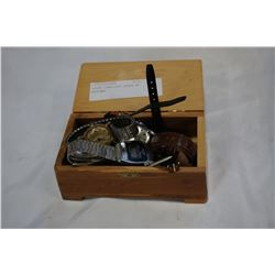 WOODE JEWELLERY BOXES W/ WATCHES