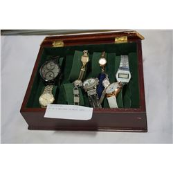 LOT OF 8 WATCHES IN WOOD CASE