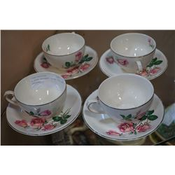 4 ROSE BOUQUET CHINA CUPS AND SAUCERS