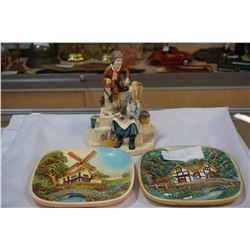 HAND PAINTED NATURE CRAFT FIGURE AND 2 LEGAND PRODUCT POTTERY WALL PLAQUES
