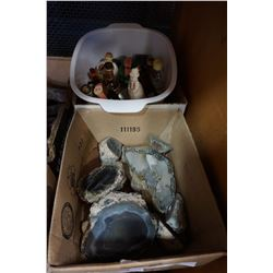 BOX OF PEARLESENT SHELLS, BOX OF SEMI PRECIOUS STONES AND VINTAGE MINATURE LIQUOR BOTTLES AND DECANT