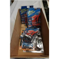 LOT OF JOHNNY LIGHTNING TOY CARS IN BOX AND HOTWHEELS