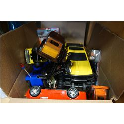BOX OF KIDS TOYS AND TRUCKS