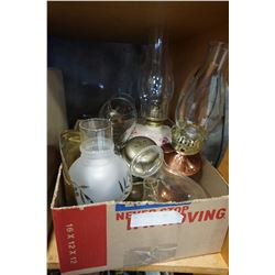 BOX OF VINTAGE OIL LAMPS