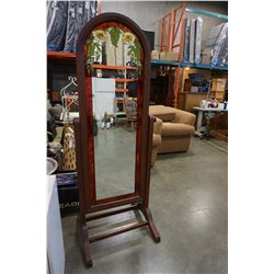 LEADED GLASS CHEVAL MIRROR