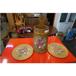 PAINTED UMBRELLA STAND AND 2 WOOD DECORATIONS