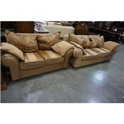 BERNHARDT BROWN LEATHER AND FABRIC SOFA AND LOVE SEAT