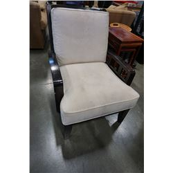 WOOD FRAMED MICROFIBER SEAT AND ARM CHAIR
