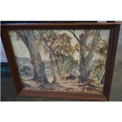 FRAMED PRINT HORSE RIDING IN WOODS